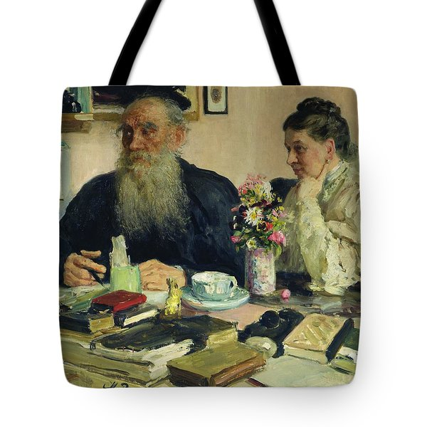 Leo Tolstoy With His Wife In Yasnaya Polyana Tote Bag