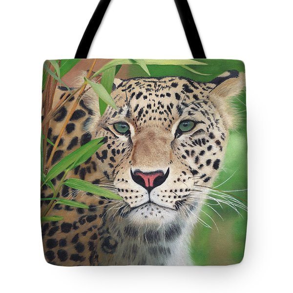 Leopard In The Woods Tote Bag by Alina Kaplanov