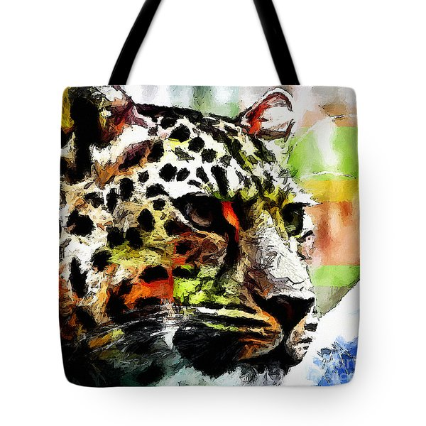 Tote Bag featuring the painting Leopard - Leopardo by Zedi