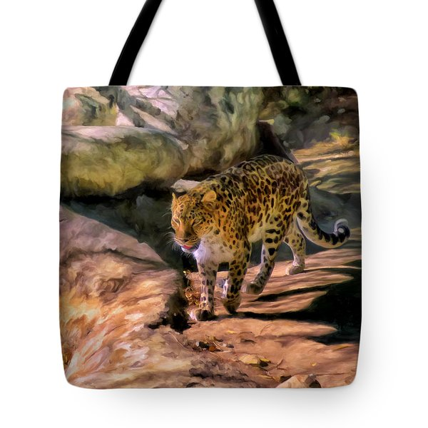 Tote Bag featuring the painting Leopard by Michael Pickett