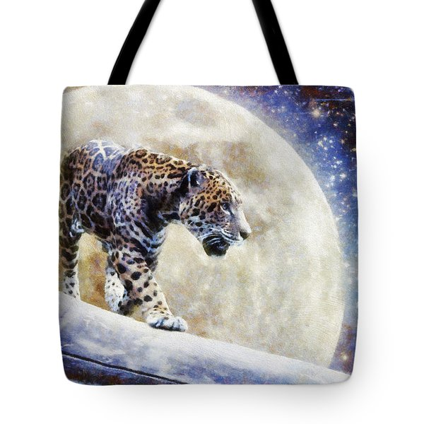 Tote Bag featuring the painting Leopard Moon by Greg Collins