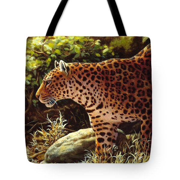 Leopard Painting - On The Prowl Tote Bag by Crista Forest