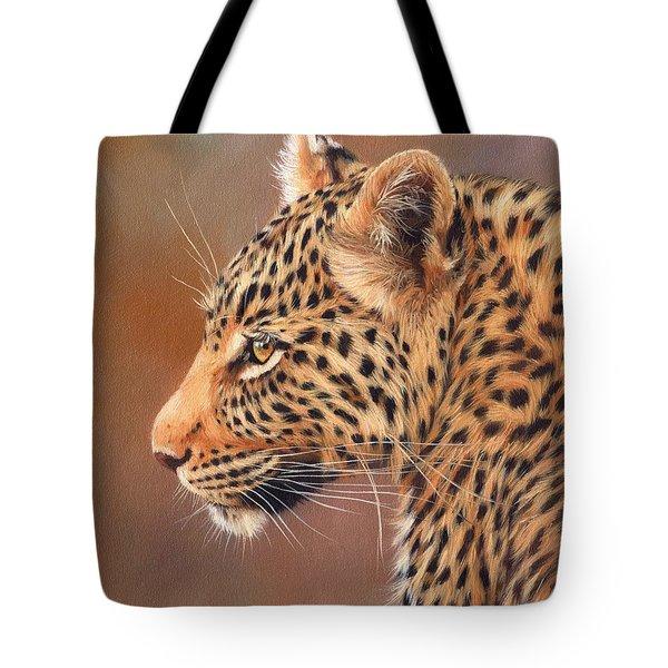 Leopard Portrait Tote Bag by David Stribbling