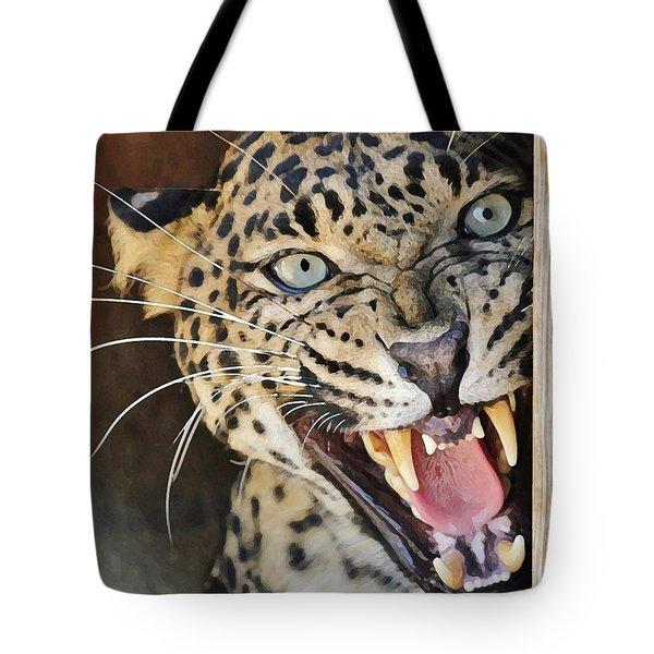 Leopard Snarling Tote Bag