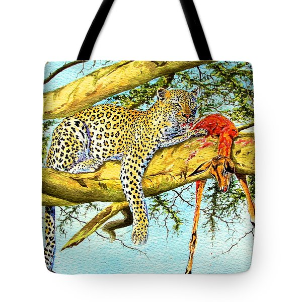 Leopard With A Kill Tote Bag