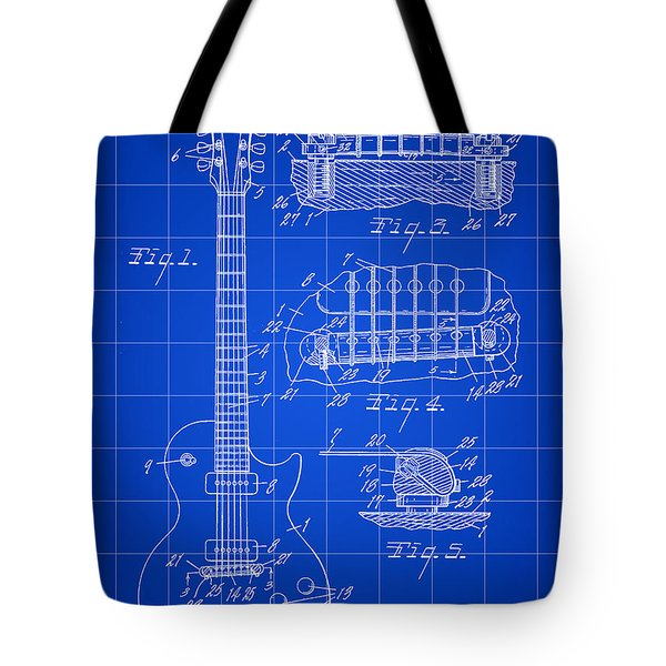 Les Paul Guitar Patent 1953 - Blue Tote Bag
