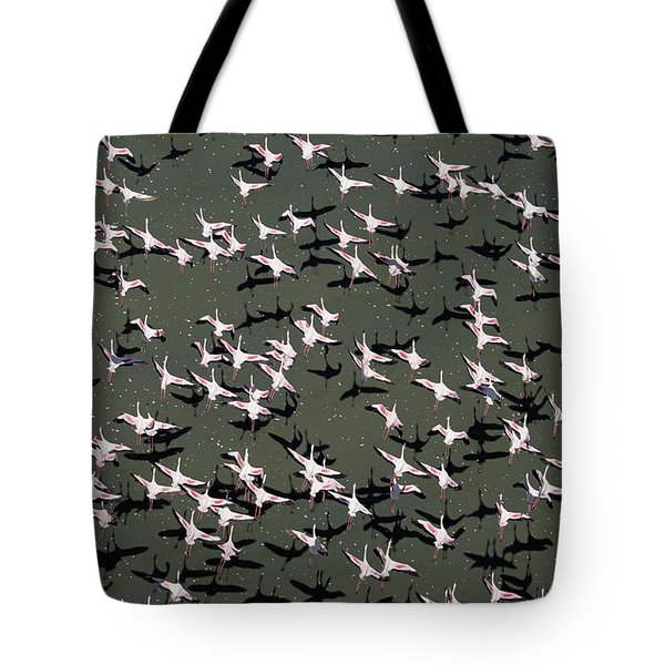 Lesser Flamingo Flock Flying Lake Kenya Tote Bag