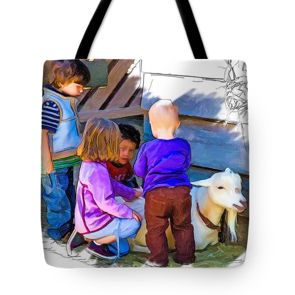 Lessons In Petting A Goat Tote Bag by John Haldane