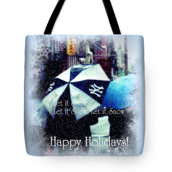 Let It Snow - Happy Holidays - Ny Yankees Holiday Cards Tote Bag by Miriam Danar