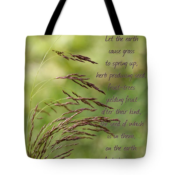 Let The Earth Bring Forth Grass Genesis Tote Bag