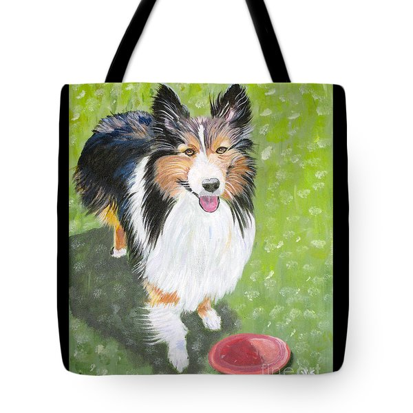 Let Us Play  Border Collie Tote Bag by Phyllis Kaltenbach