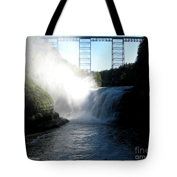 Letchworth State Park Upper Falls And Railroad Trestle Tote Bag by Rose Santuci-Sofranko