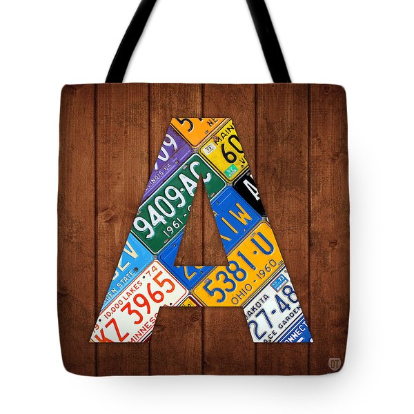 Letter A Alphabet Vintage License Plate Art Tote Bag