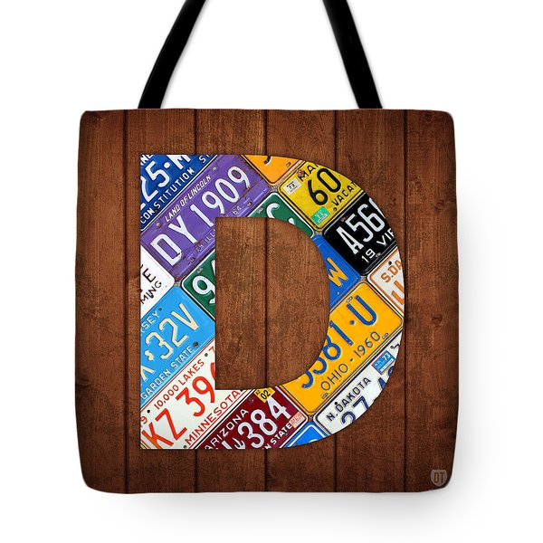 Letter D Alphabet Vintage License Plate Art Tote Bag