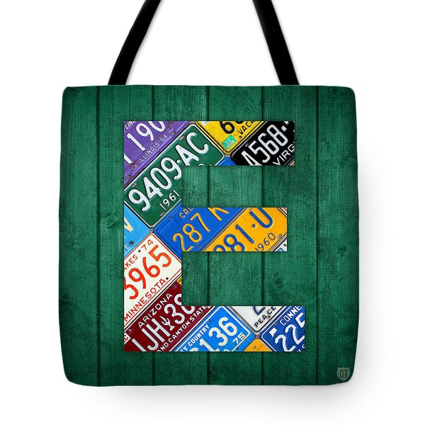 Letter E Alphabet Vintage License Plate Art Tote Bag by Design Turnpike