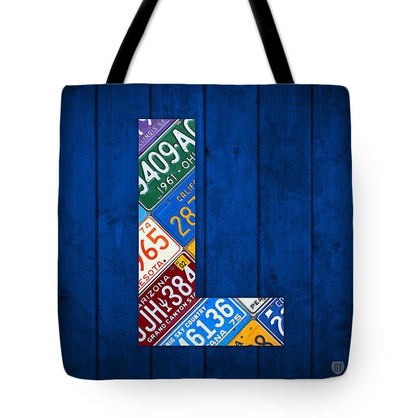 Letter L Alphabet Vintage License Plate Art Tote Bag