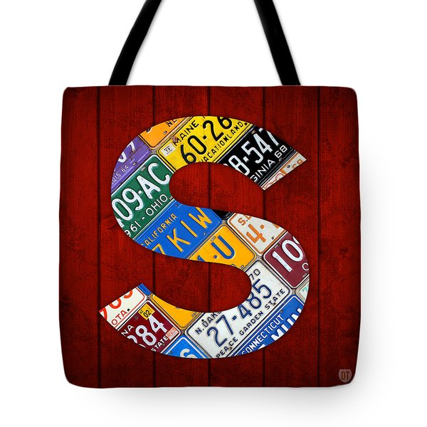 Letter S Alphabet Vintage License Plate Art Tote Bag