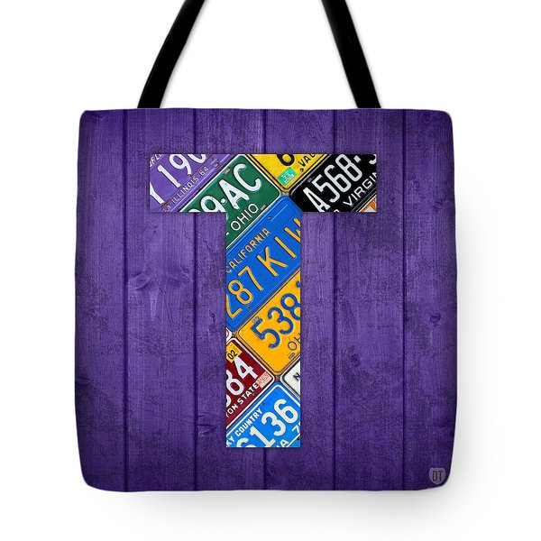 Letter T Alphabet Vintage License Plate Art Tote Bag
