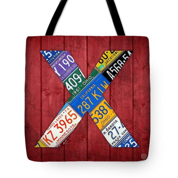 Letter X Alphabet Vintage License Plate Art Tote Bag by Design Turnpike