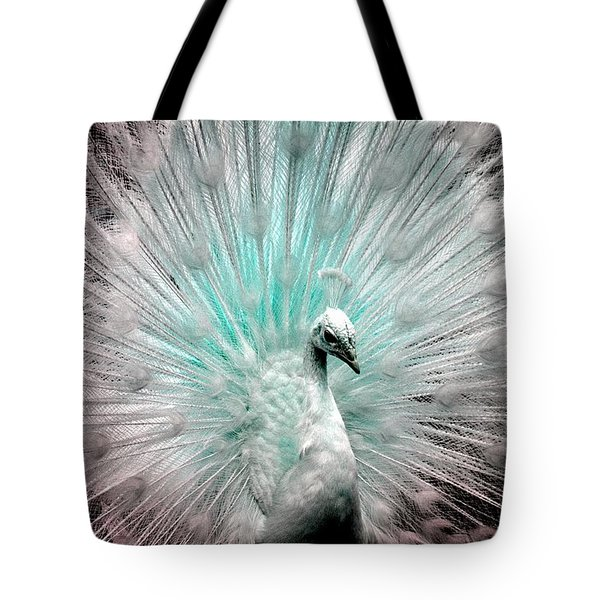 Leucistic White Peacock Tote Bag