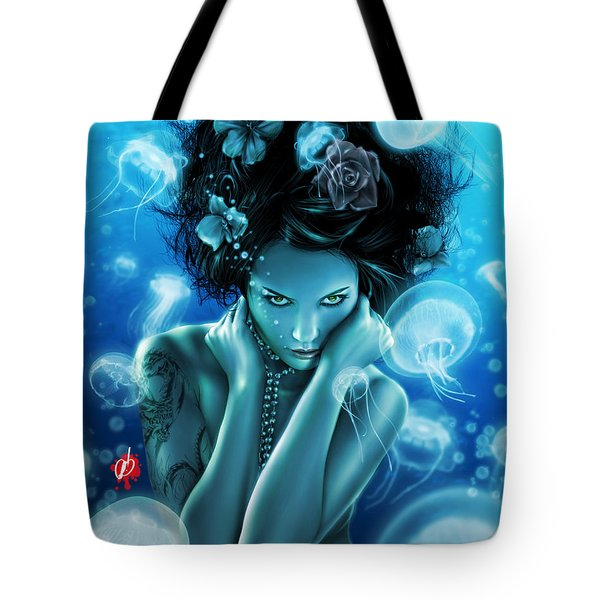 Tote Bag featuring the painting Leviathan by Pete Tapang