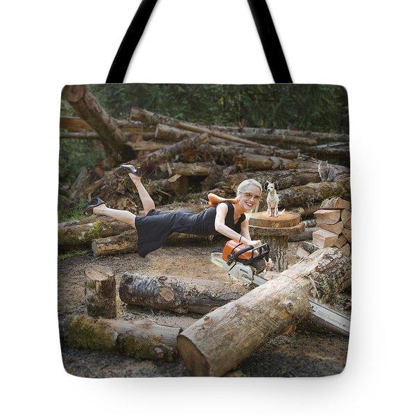 Levitating Housewife - Cutting Firewood Tote Bag