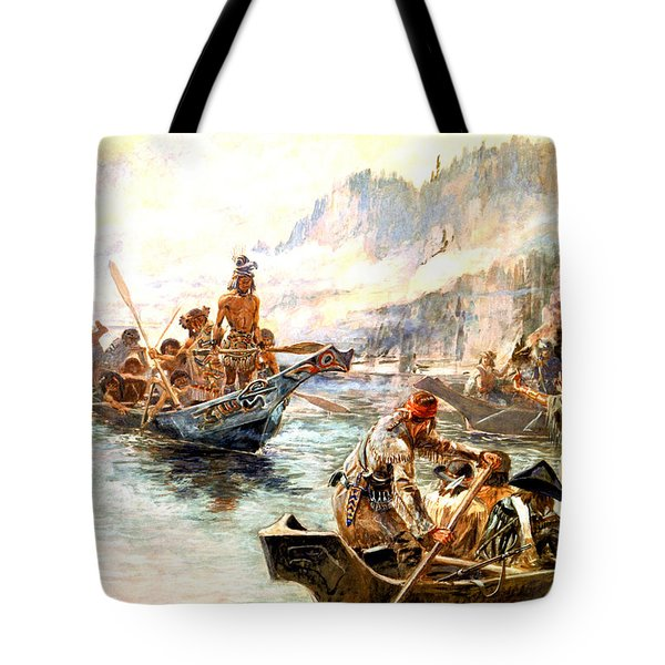 Lewis And Clark On The Lower Columbia  Tote Bag