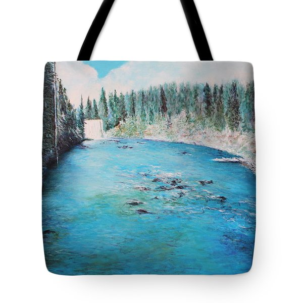 Tote Bag featuring the painting Lewis Falls Yellowstone by M Diane Bonaparte