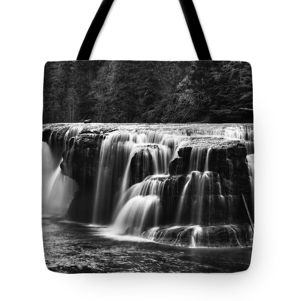 Lewis River Lower Falls Black And White Tote Bag