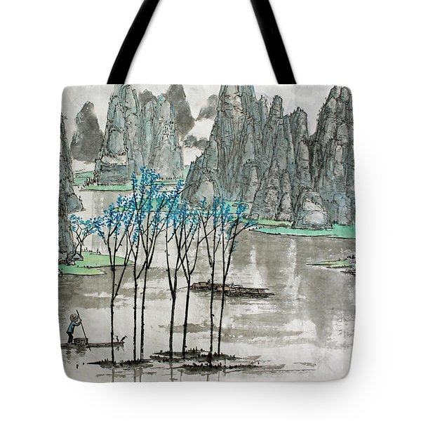 Li River In Spring Tote Bag by Yufeng Wang