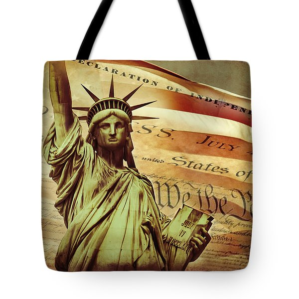 Declaration Of Independence Tote Bag by Az Jackson