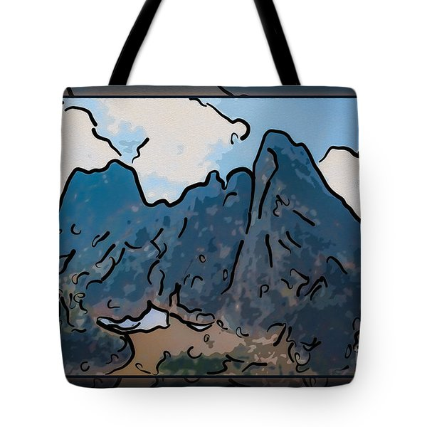Liberty Bell Mountain Abstract Landscape Painting Tote Bag