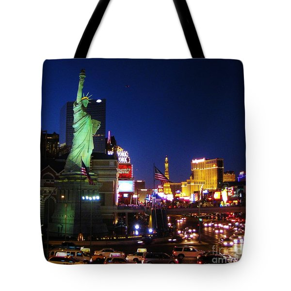 Liberty In Vegas Tote Bag by John Malone