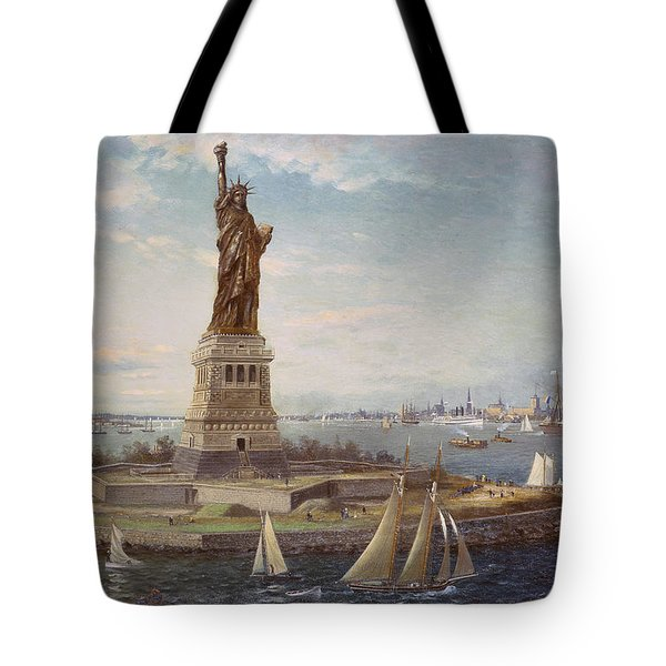 Liberty Island New York Harbor Tote Bag by Fred Pansing