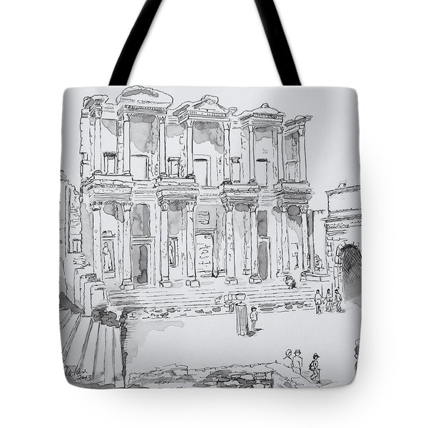 Library At Ephesus Tote Bag