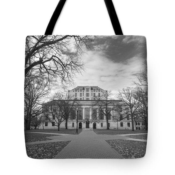 Library Ohio State University Black And White  Tote Bag