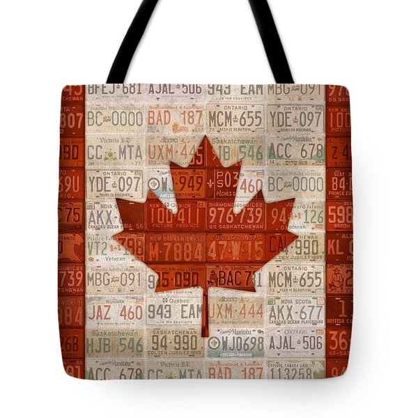 License Plate Art Flag Of Canada Tote Bag by Design Turnpike