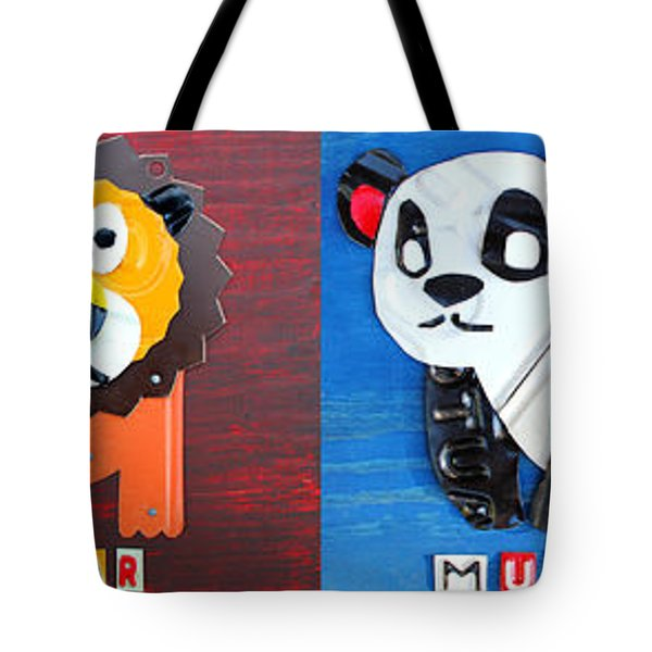 License Plate Art Jungle Animals Series 1 Tote Bag by Design Turnpike