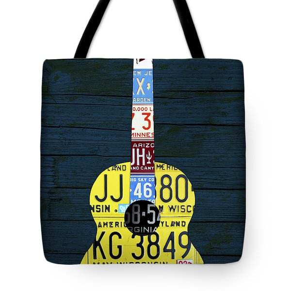 License Plate Guitar Edition 2 Vintage Recycled Metal Art On Wood Tote Bag