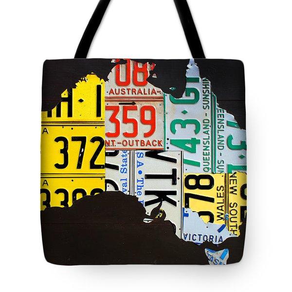 License Plate Map Of Australia Tote Bag