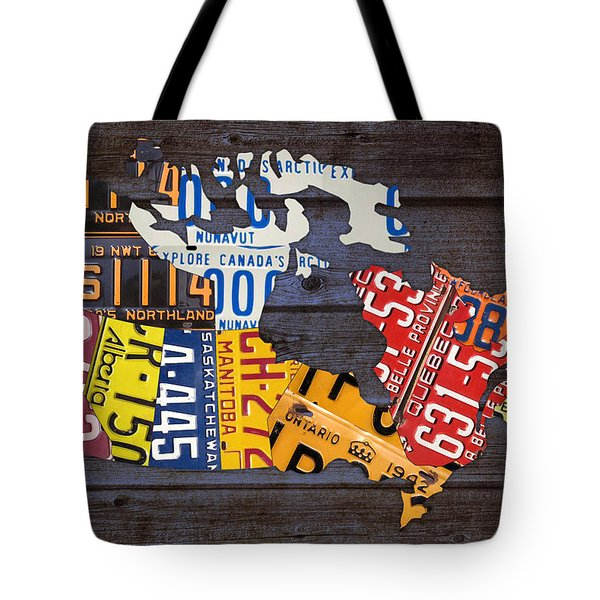License Plate Map Of Canada Tote Bag