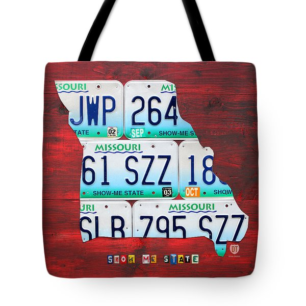 License Plate Map Of Missouri - Show Me State - By Design Turnpike Tote Bag by Design Turnpike