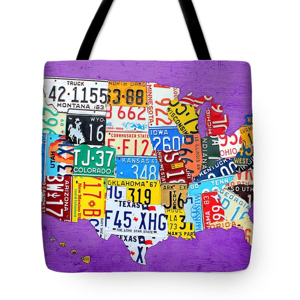 License Plate Map Of The United States On Vibrant Purple Slab Tote Bag by Design Turnpike