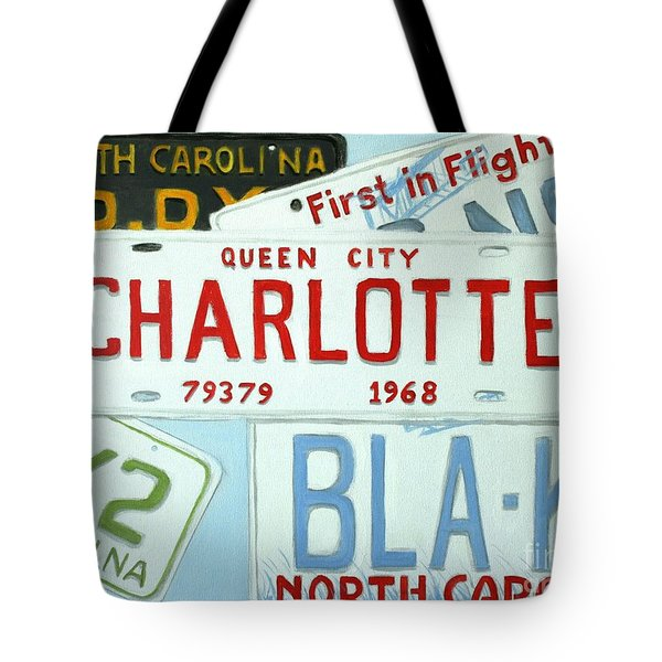 License Plates Tote Bag by Stacy C Bottoms