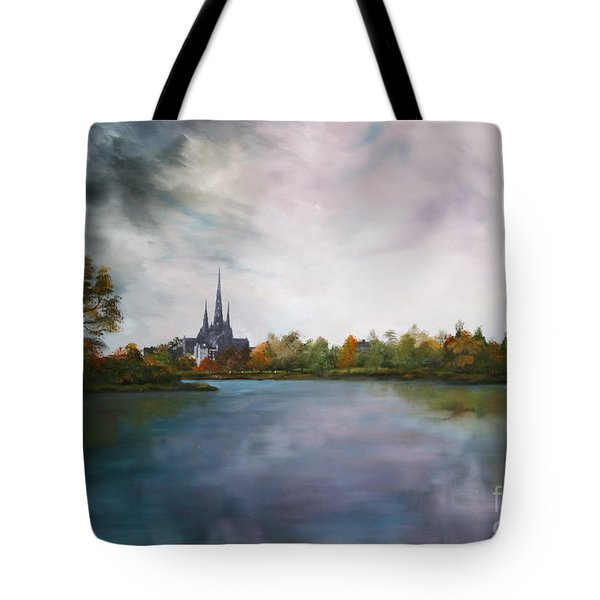 Lichfield Catherdral A View From Stowe Pool Tote Bag by Jean Walker