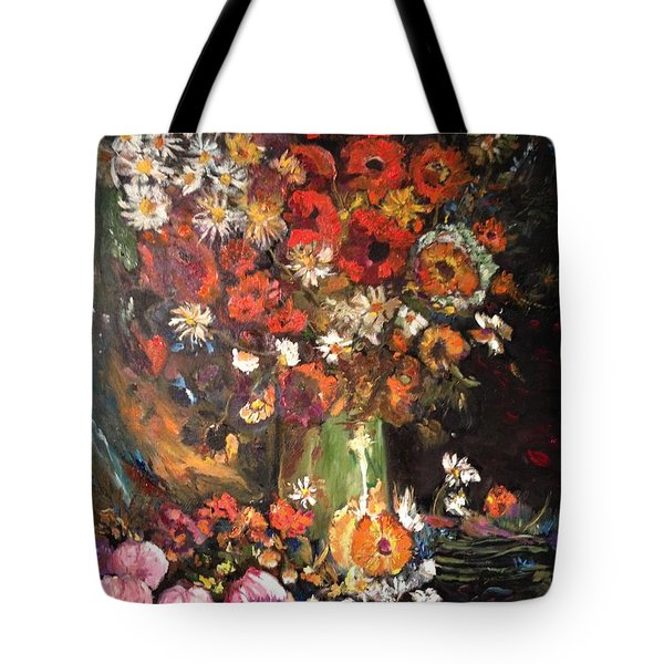 Tote Bag featuring the painting Life Is Like A Vase Of Flowers by Belinda Low