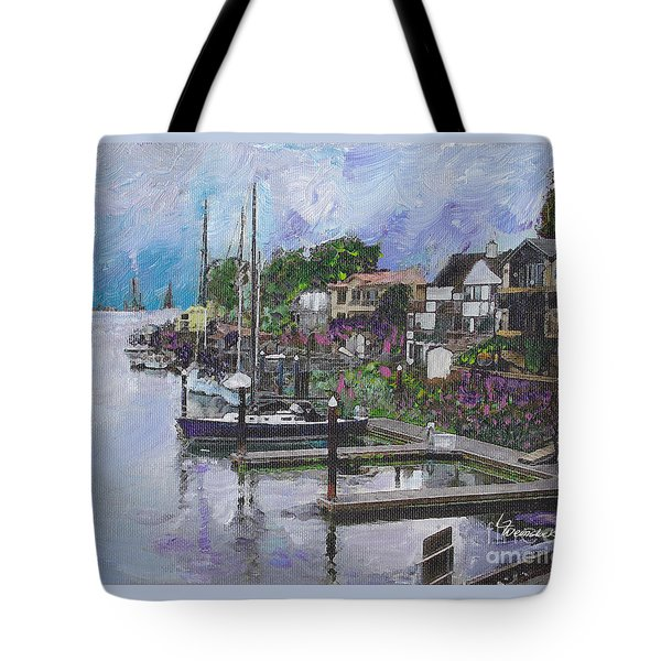 Tote Bag featuring the painting Alameda Life On The Estuary by Linda Weinstock