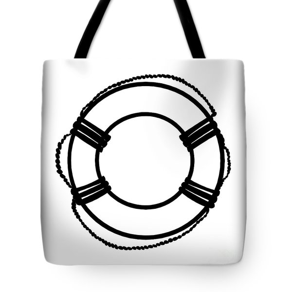 Life Preserver In Black And White Tote Bag