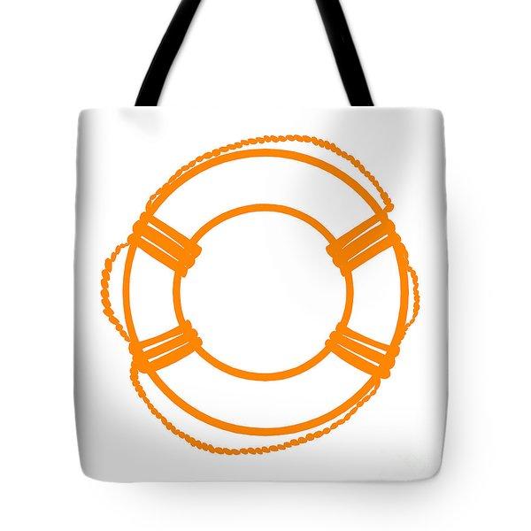 Life Preserver In Orange And White Tote Bag