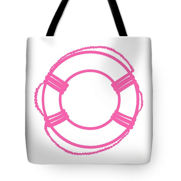 Life Preserver In Pink And White Tote Bag